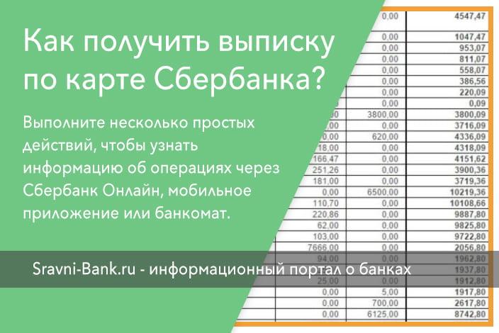 Как заказать выписку по карте сбербанка