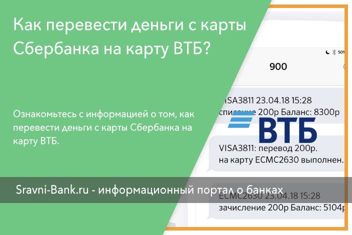 Перевод с карты ВТБ на карту ВТБ – инструкции